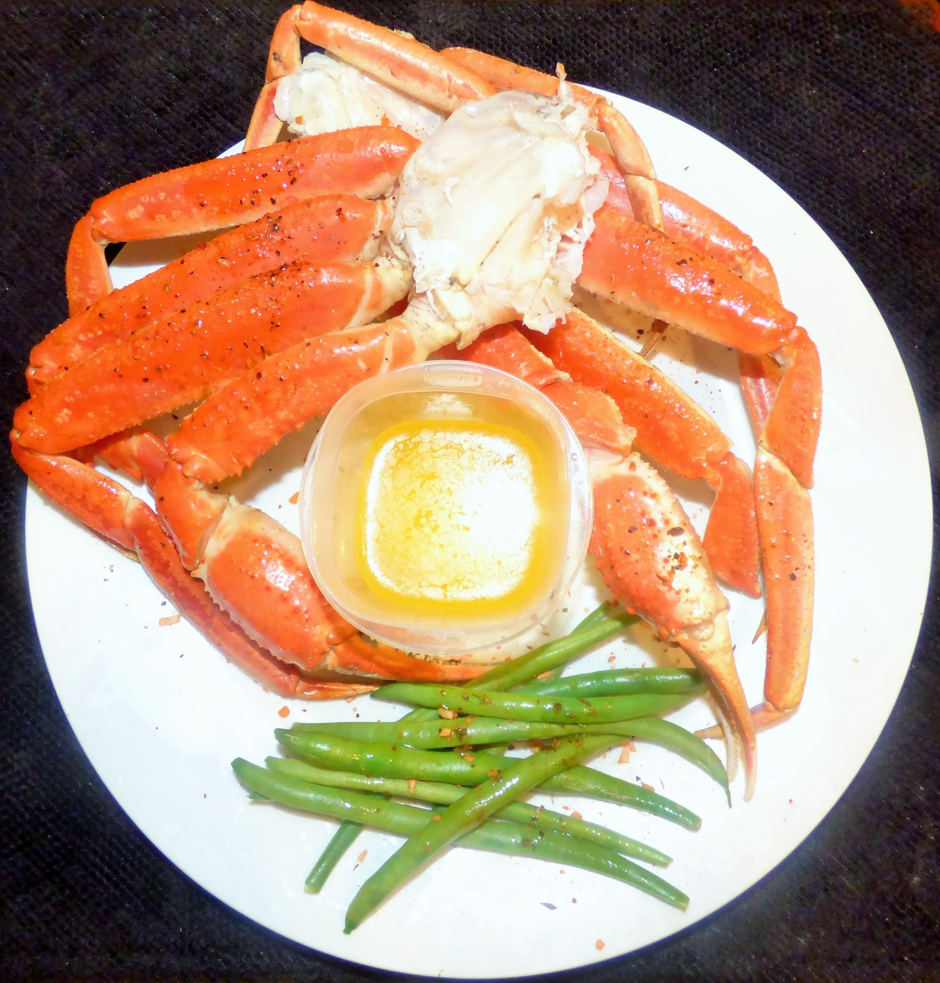 Steamed snow crab brushed with a sweet mesquite dry rub