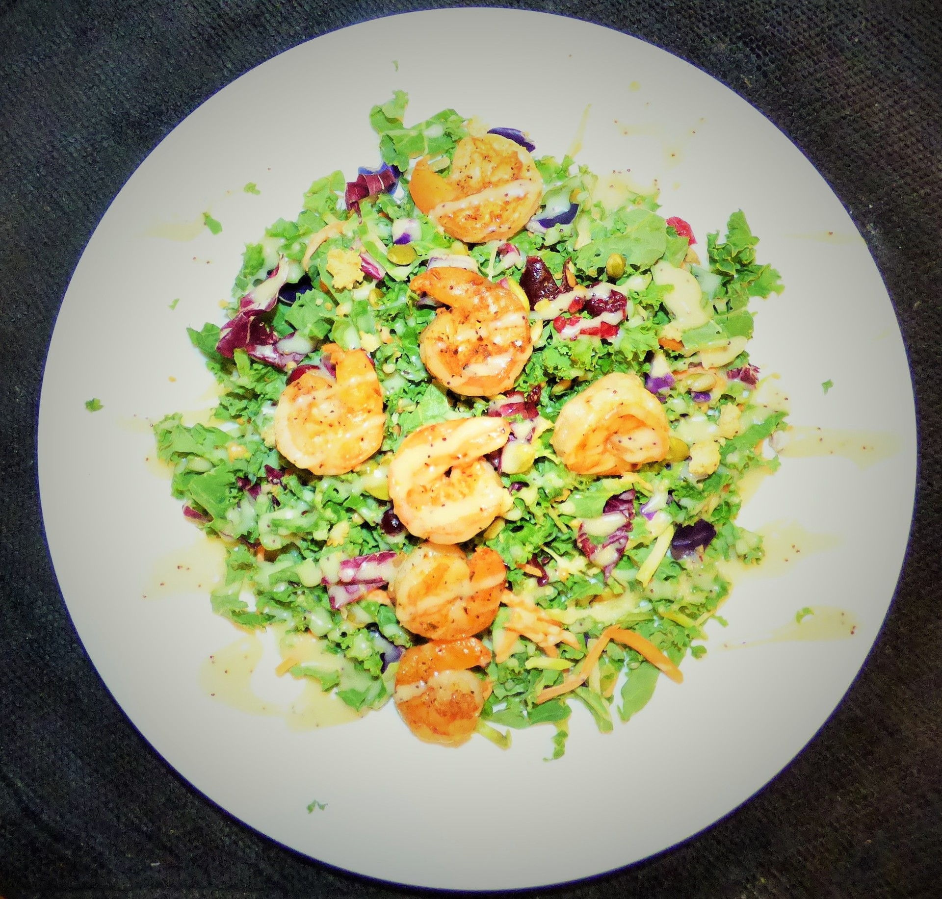Grilled Shrimp with Lemon Kale salad