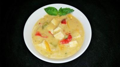 Vegan Delights: Coconut Curry Lemon Grass Basil Tofu Soup