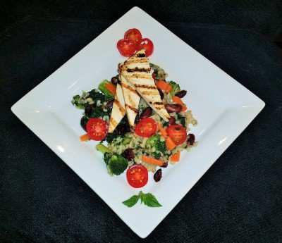 Vegan Delights: Brown Rice, Barley and Kale stir fry topped with Grilled Tofu