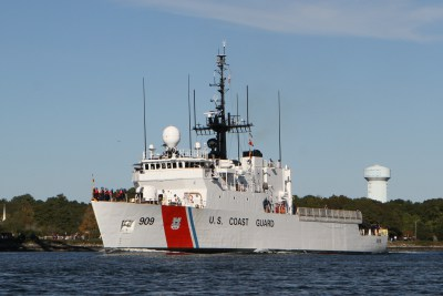 The USCG Cutter Campbell steams through the Cape Cod Canal