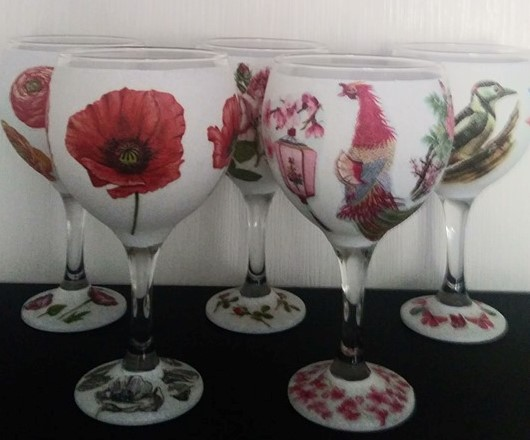 Decoupage  Gin Glasses