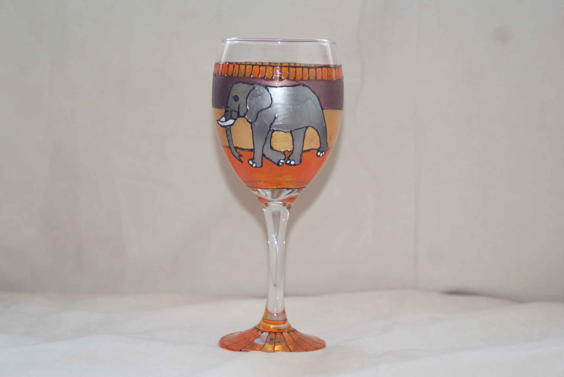 Sahara Elephants Wine Glass