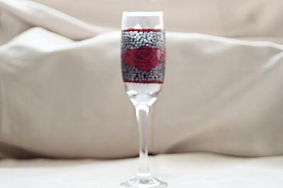 """Rose Lace"" Wine Flute"