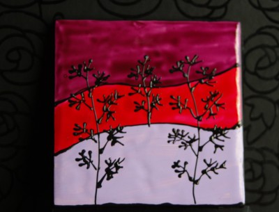 """Landscape"" Coasters Lilac, Red, and Mauve"