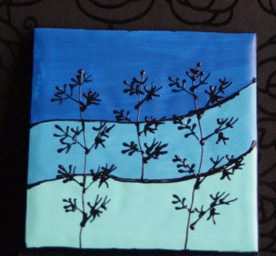 "Blue ""Landscape""  Coasters"