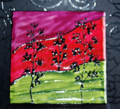 """Landscape"" Coasters Green, Red & Mauve"