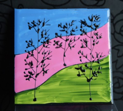 """Landscape"" Coasters, Light Blue, Pink, Green"