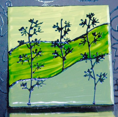 """Landscape"" Green Multi Coasters"