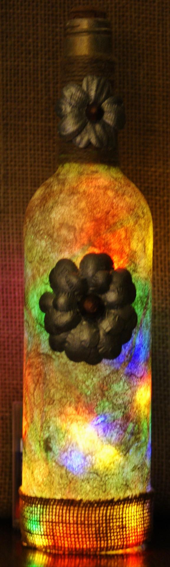 Bottle Light, Silver Flower Multi £12.50