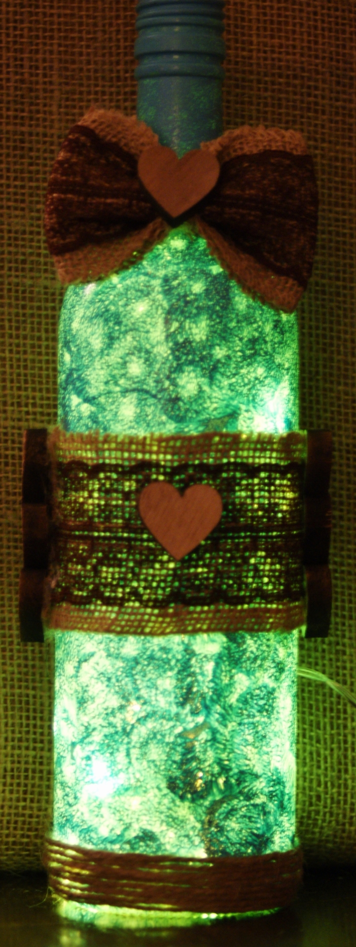 """Recycled Wine Bottle Light  """"turquiose Bow"""" £12.50"""