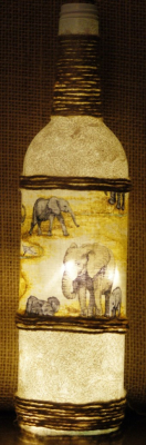 "Recycled Bottle Light ""Elephant Landscape""  £12.50"