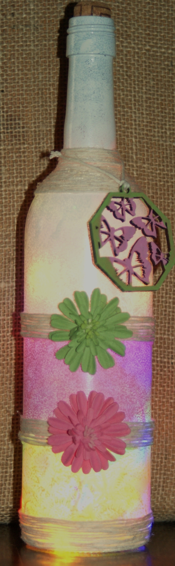 "Recycled  Wine Bottle  Light ""Pastel Floral"" £17.50"