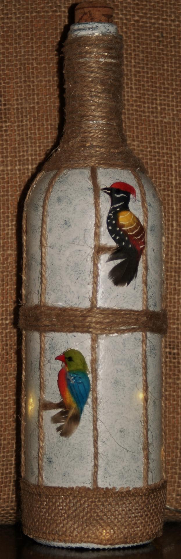 "Recycled  Wine Bottle Light  "" Vintage Bird Cage"" £12.50"