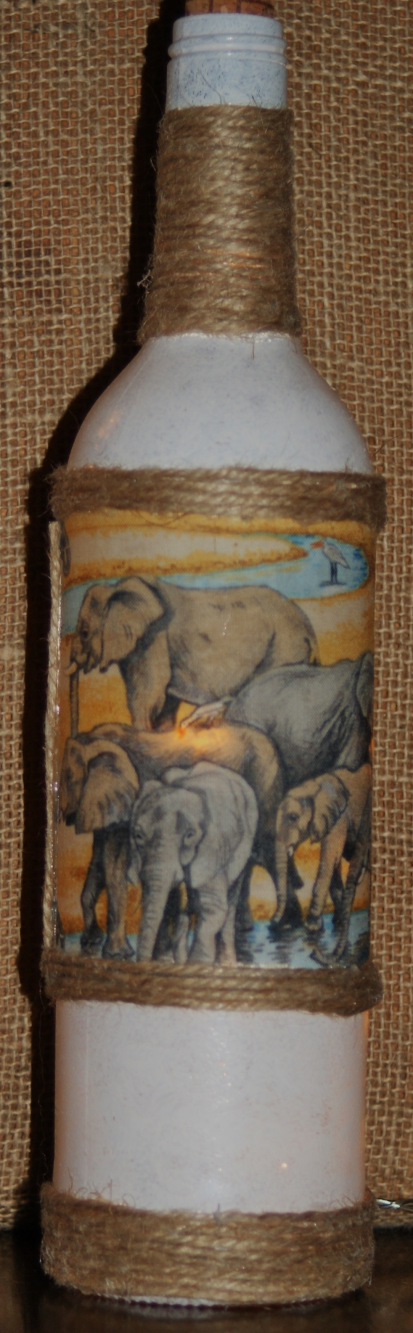 "Recycled  Wine  Bottle Light  ""Elephant Herd Landscape"" £17.50"