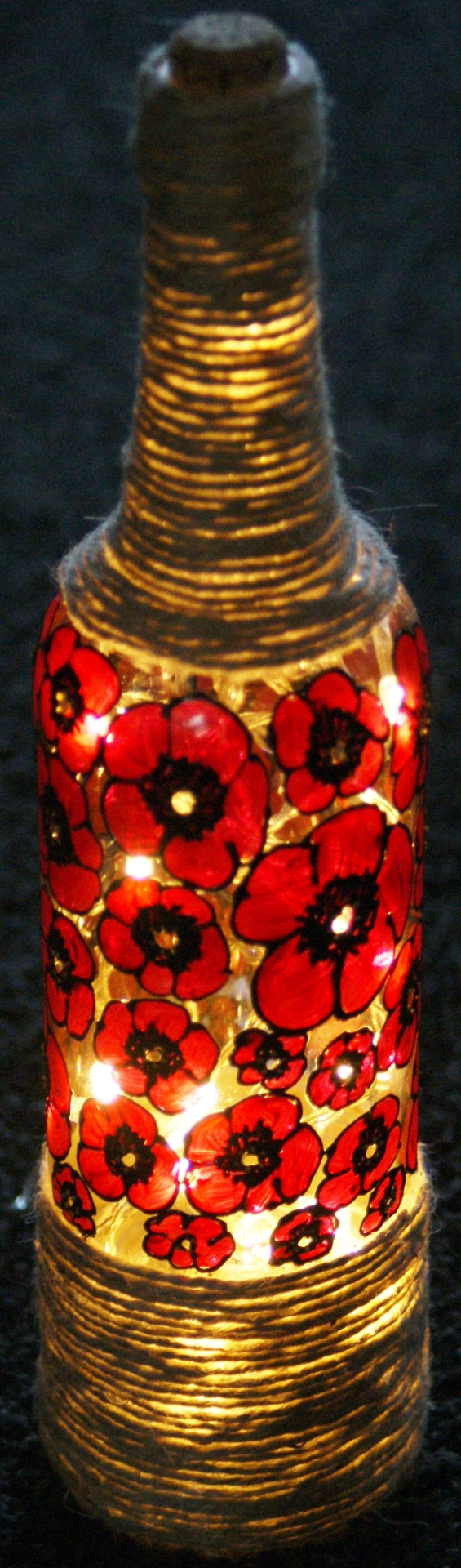 Midnight Poppy Wine Bottle Lights £14.50