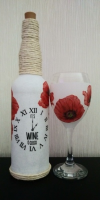 Poppy Wine bottle light & Wneglass Set