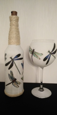 Dragonfly Bottle Light & Gin Glass Set