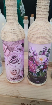 Pink Floral Bottle Lights