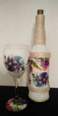 Pansy Bottle Light & Wineglass Set