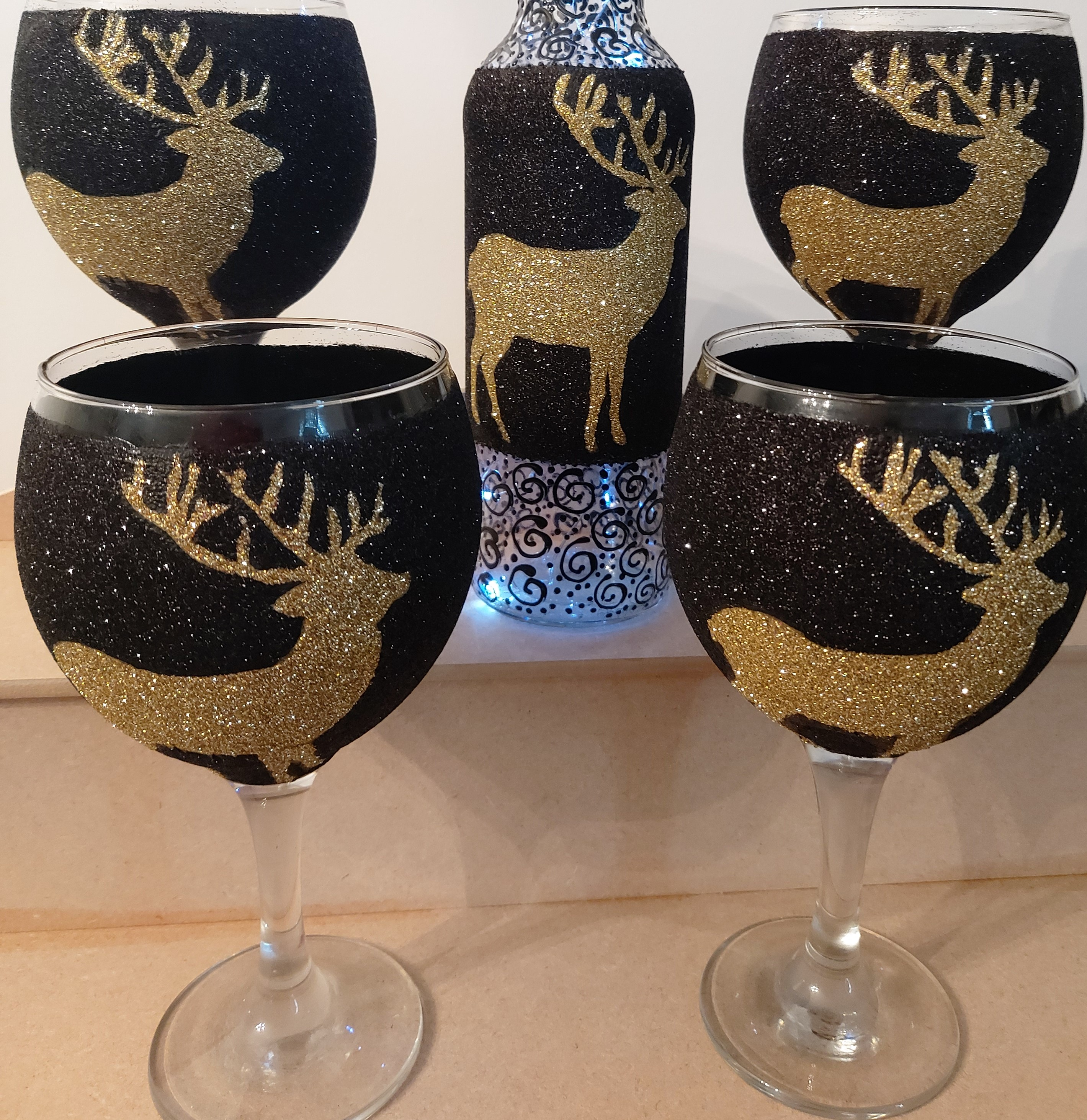 Gold Stag Gin Glass & Bottle Lights