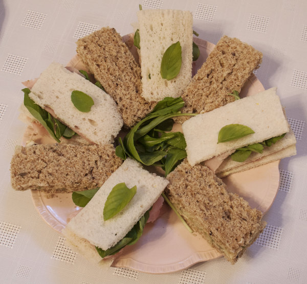 Sandwiches: Cucumber; Ham, mustard and rocket