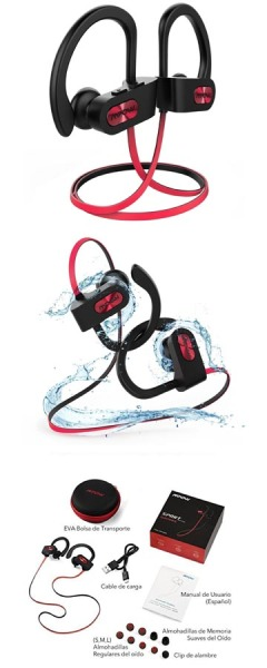 Mpow Bluetooth Auriculares IPX7 Impermeable In-ear