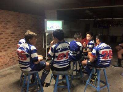 Chilling after Friday night game - Under 10's