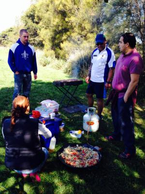 Some Paella in between games - Harbord Harlequins Gala 2014