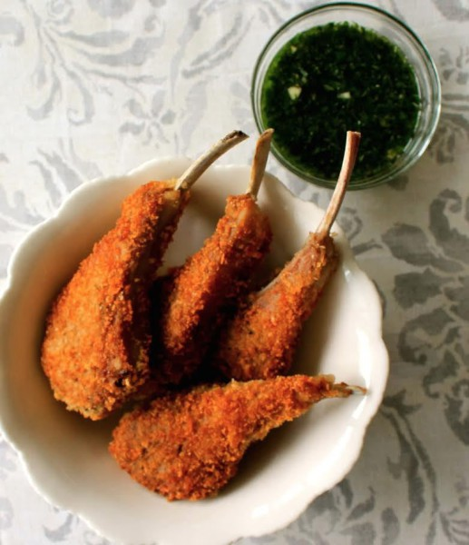 Crispy Lamb Chops with Mint & Shallot Sauce