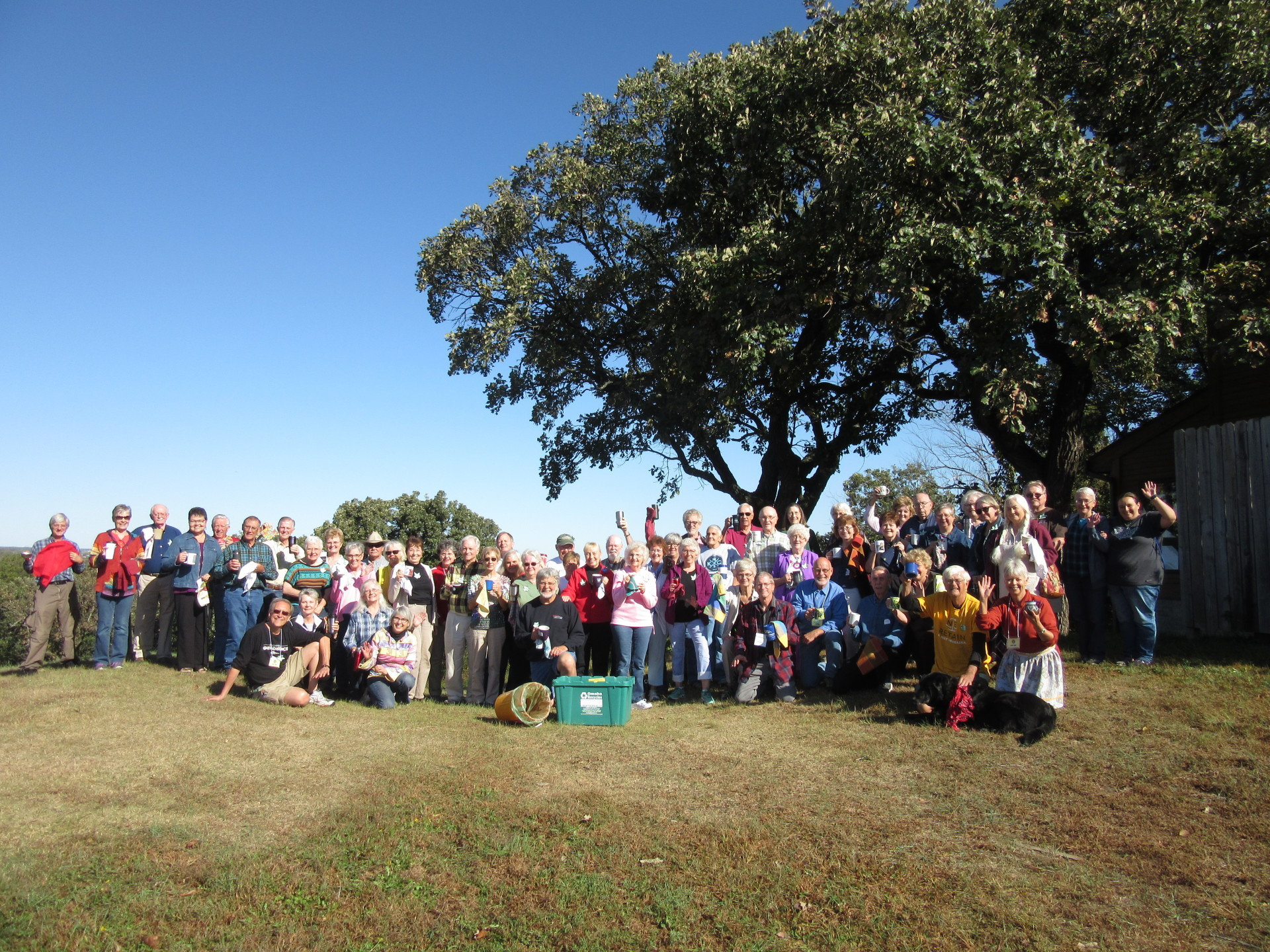 All smiles...positive energy for climate action at Elders - 2016 at Mahoney State Park, October 3-5!