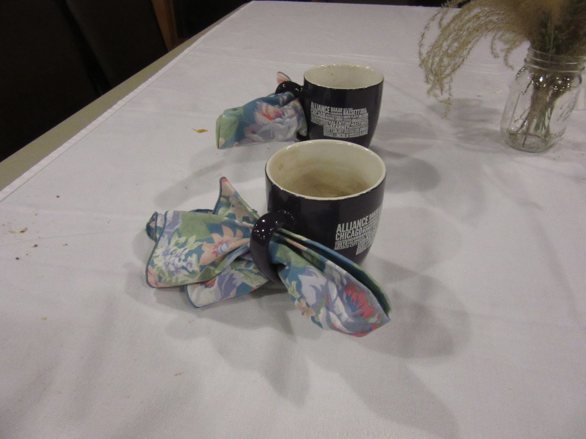 "To help us be a ""zero waste"" event, each participant brought their own mugs and cloth napkins."