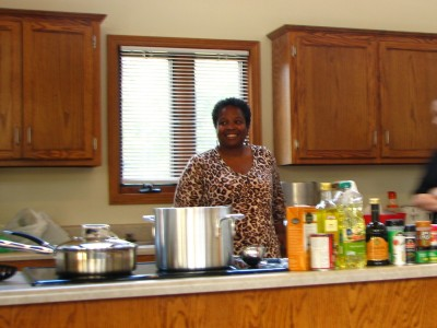Susan Whitfield, of No More Empty Pots, worked her magic in the kitchen using seasonal ingredients.  Participants got to taste the results!