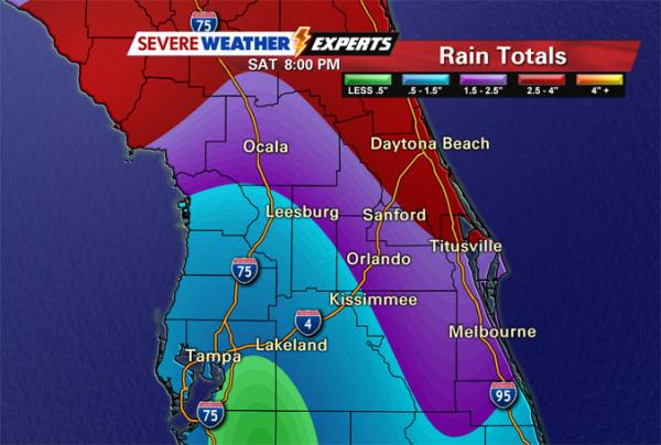 Bad weather moving Orlando
