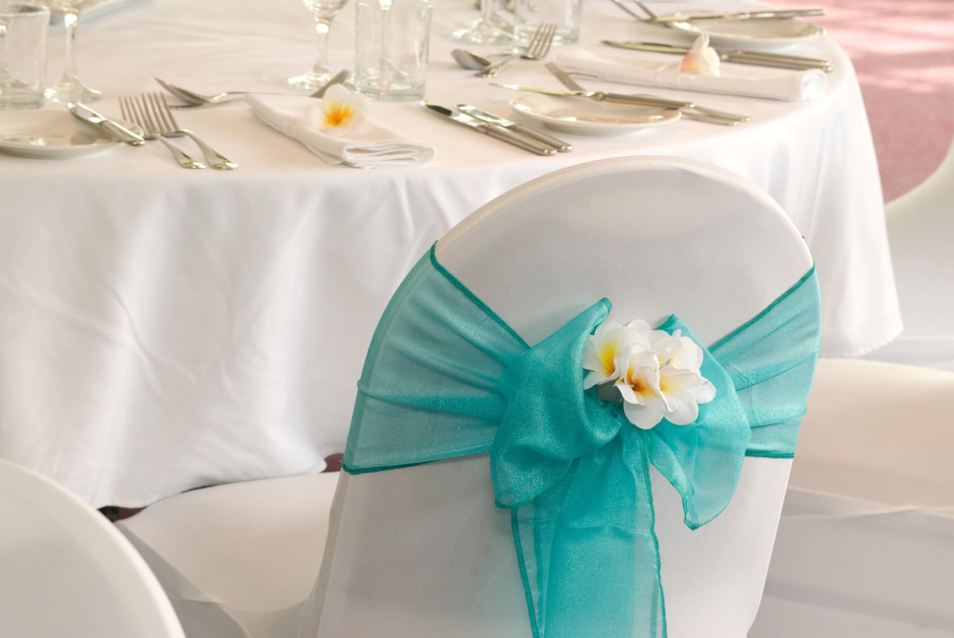 , aqua wedding chair cover, aqua and white wedding chair