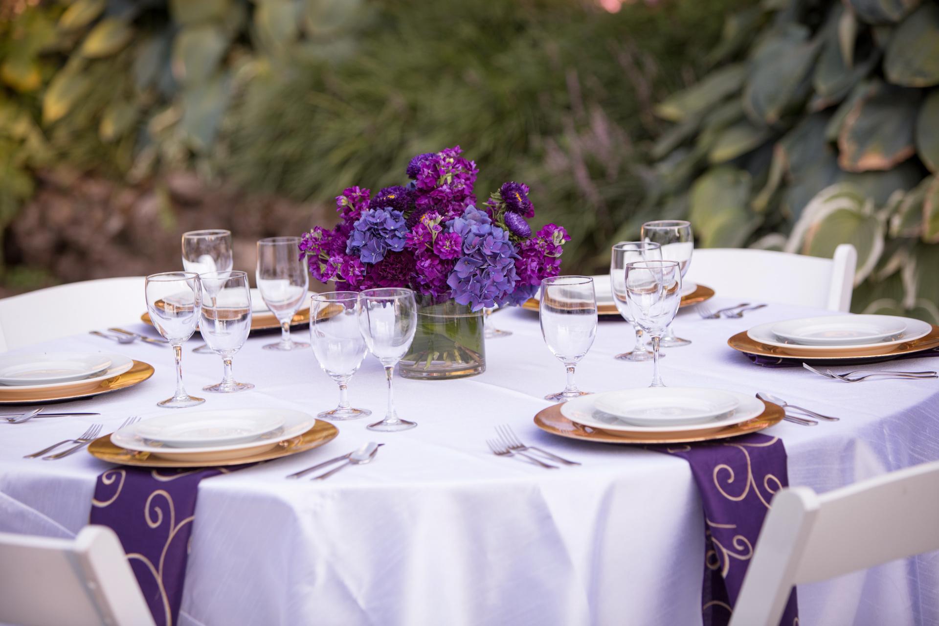 Purple wedding table set up, Purple wedding centerpiece