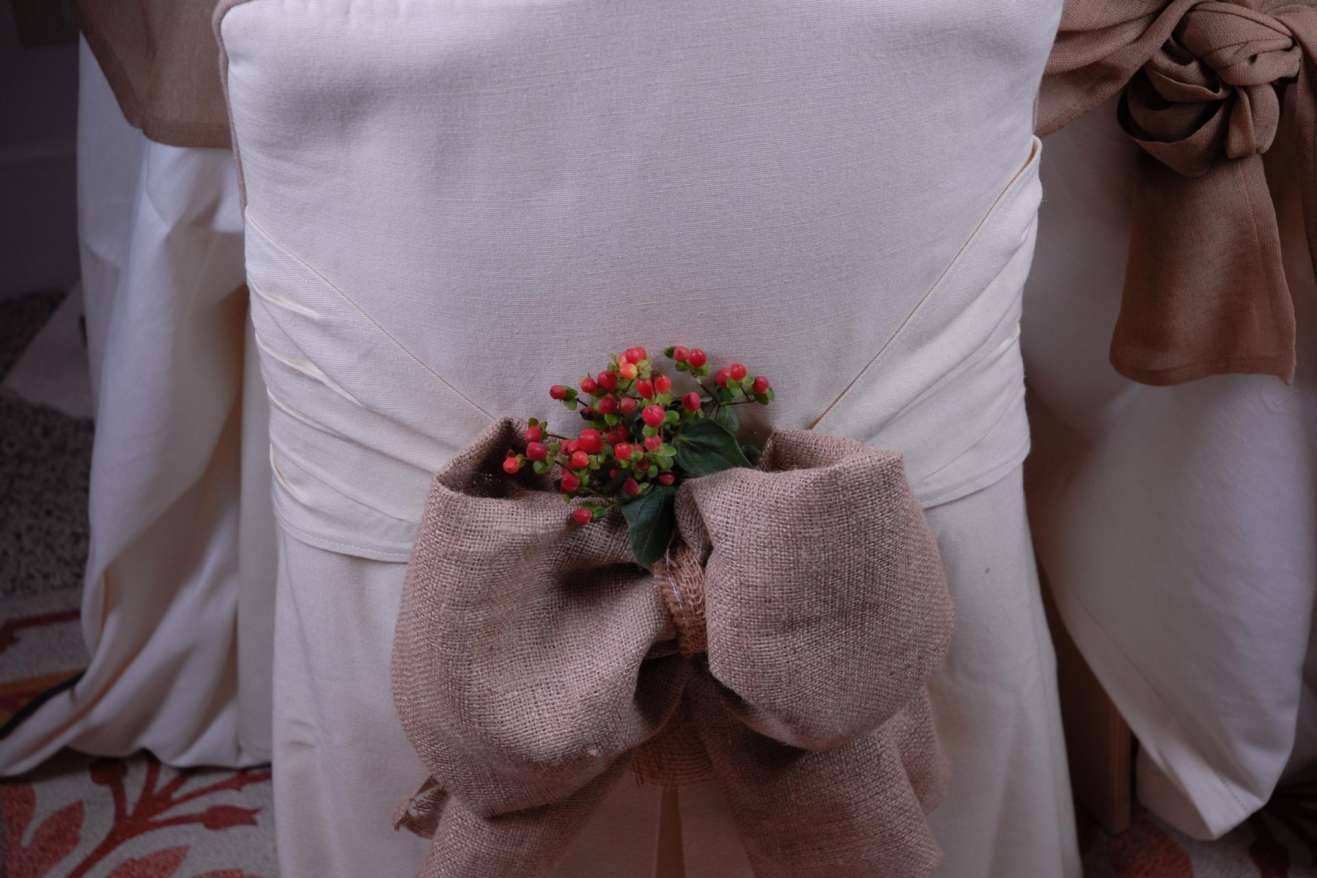 burlap and berries wedding chair sash cover, burlap wedding, burlap chair sash,
