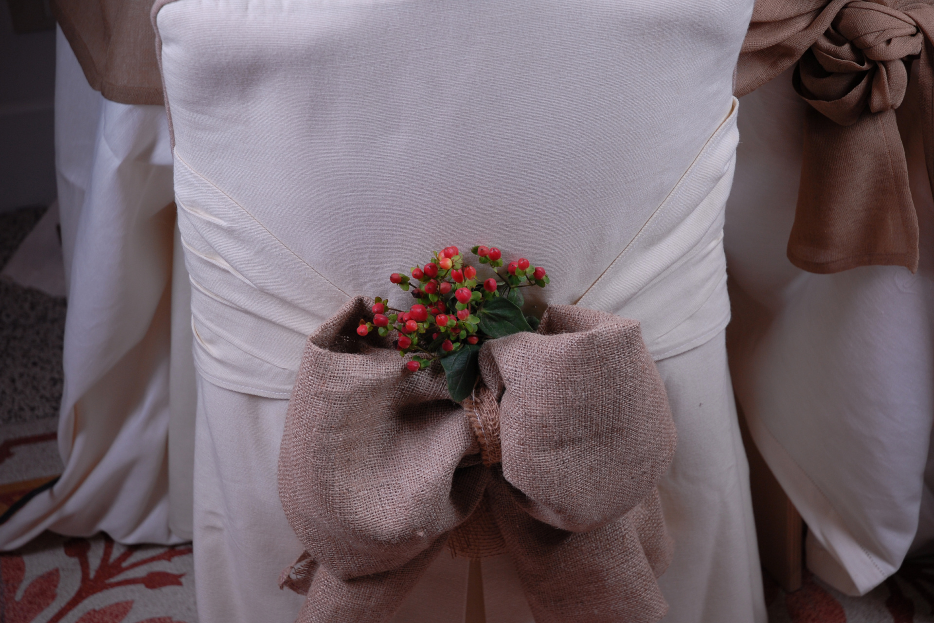 burlap and berries wedding chair sash cover, burlap wedding, burlap chair sash,