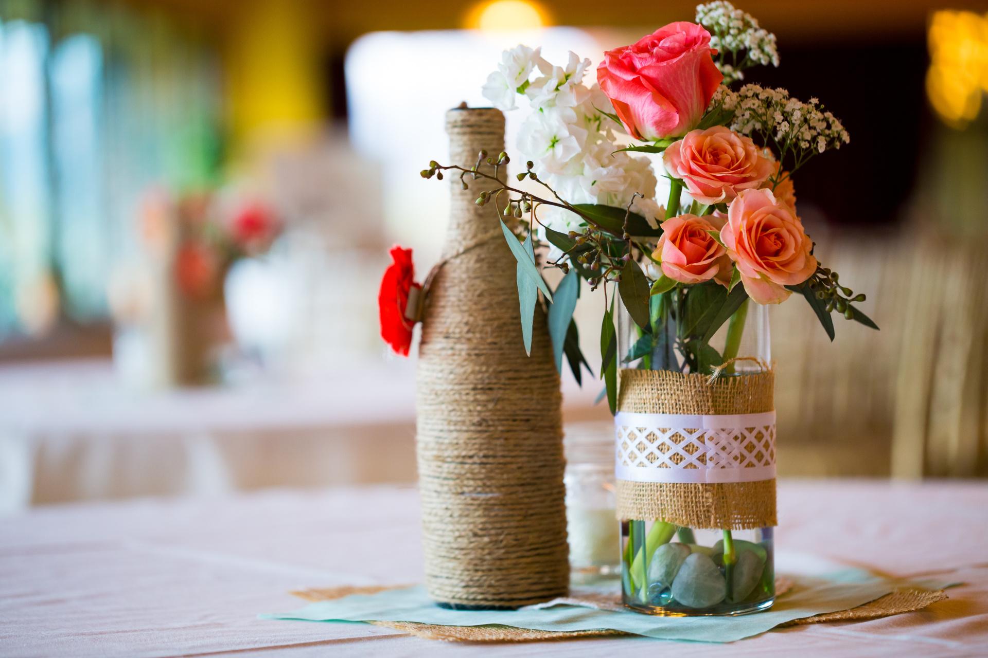 coral wedding, rustic wedding, mason jar decoration, burlap wedding decoration