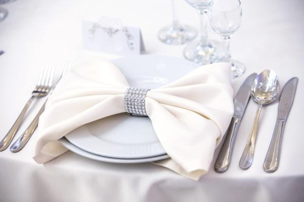 Simple, elegant diamond napkin ring bow
