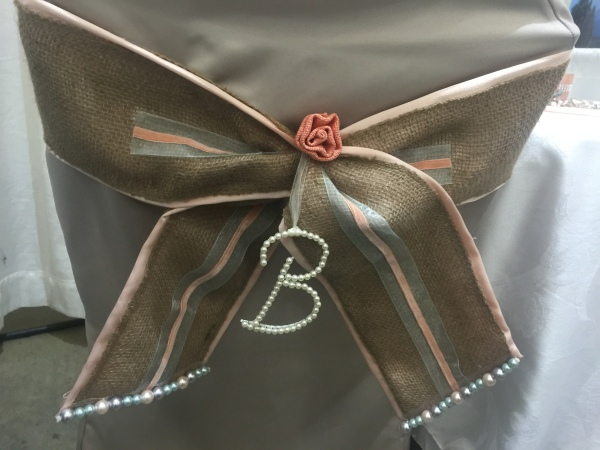 Burlap Coral & Aqua Chair sash
