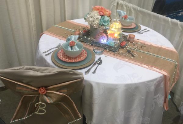 Coral and Aqua Wedding Table