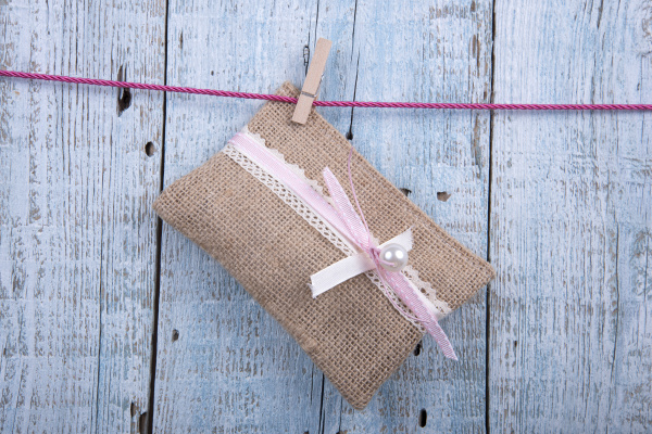Burlap pouch we can customize for your special day