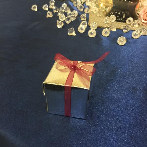 Silver Box with burgandy ribbon