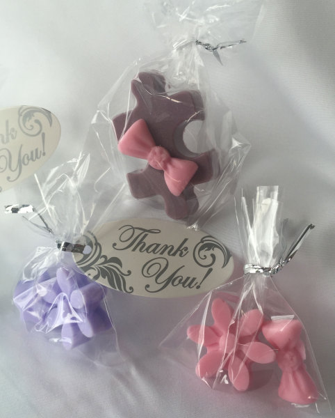 Soap favors in clear bags, available many colors