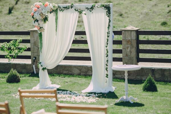 Wedding Arch, floral/chiffon