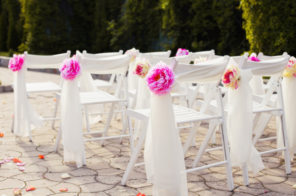 Pink and chiffon chair design, wedding