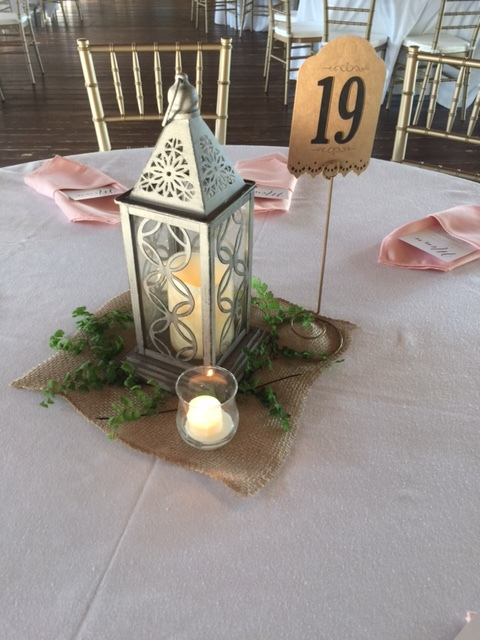 Rustic Gray Stenciled Lantern $20