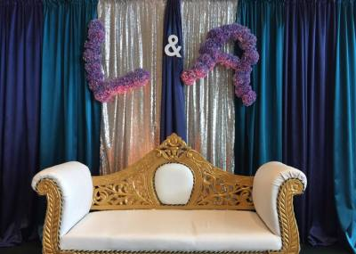 Gold and White Ornate Sofa $250