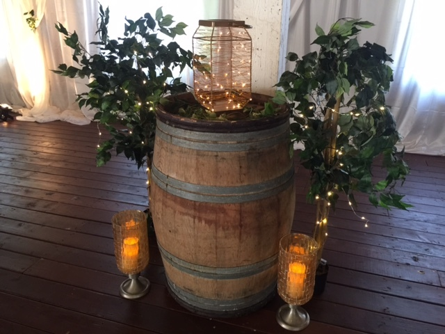 Artificial Trees with lights 2 sizes available starting at $25, spiral lighted lanterns gold or silver available $20, Gold Glass Lanterns $25